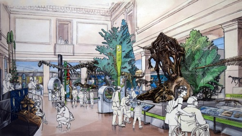 Mesozoic section of the new National Fossil Hall. Concept art on display in the Last American Dinosaurs exhibit at NMNH.