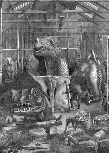 The Crystal Palace dinosaurs under construction in Hawkin's studio.